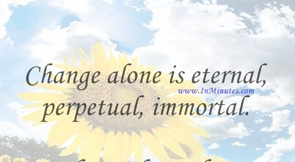 Change alone is eternal, perpetual, immortal.Arthur Schopenhauer