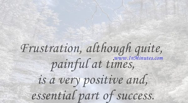 Frustration, although quite painful at times, is a very positive and essential part of success.Bo Bennett