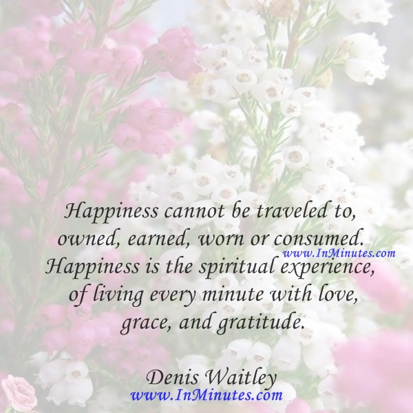 Happiness cannot be traveled to, owned, earned, worn or consumed. Happiness is the spiritual experience of living every minute with love, grace, and gratitude.Denis Waitley