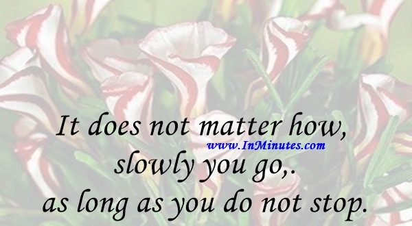 It does not matter how slowly you go as long as you do not stop.Confucius