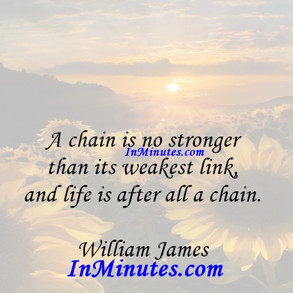 A chain is no stronger than its weakest link, and life is after all a chain. William James