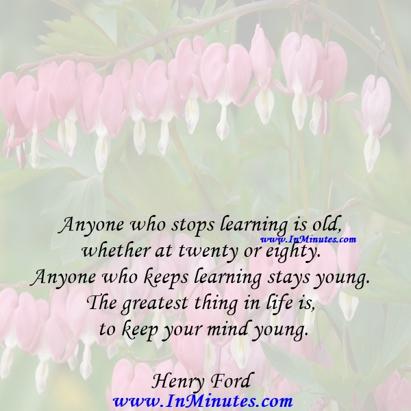 Anyone who stops learning is old, whether at twenty or eighty. Anyone who keeps learning stays young. The greatest thing in life is to keep your mind young.Henry Ford