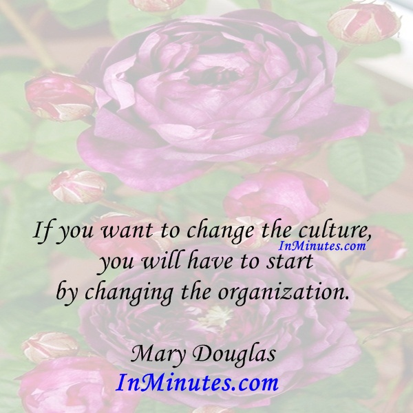 If you want to change the culture, you will have to start by changing the organization. Mary Douglas