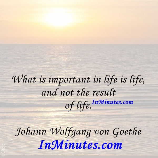 What is important in life is life, and not the result of life. Johann Wolfgang von Goethe