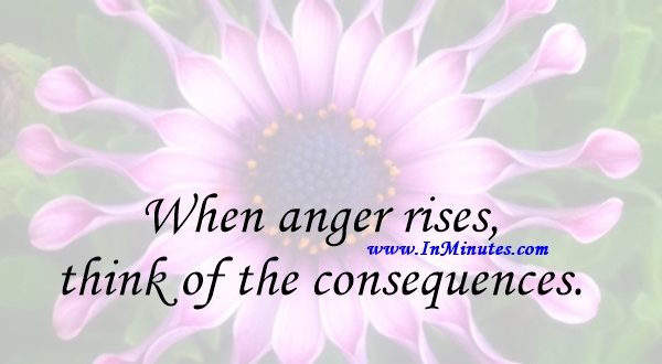 When anger rises, think of the consequences.Confucius