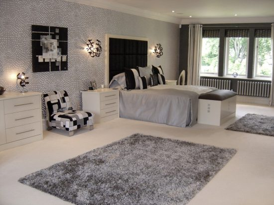 2016 black and white interior bedroom design ideas for