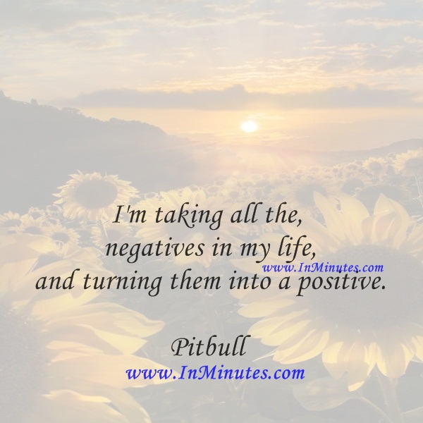 I'm taking all the negatives in my life, and turning them into a positive.Pitbull