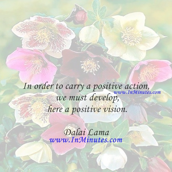 In order to carry a positive action we must develop here a positive vision.Dalai Lama