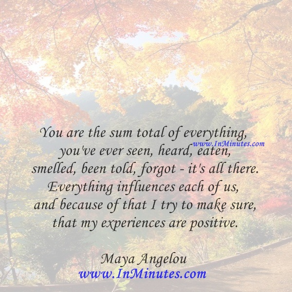You are the sum total of everything you've ever seen, heard, eaten, smelled, been told, forgot - it's all there. Everything influences each of us, and because of that I try to make sure that my experiences are positive.Maya Angelou
