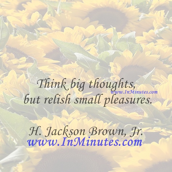 Think big thoughts but relish small pleasures.H. Jackson Brown, Jr.