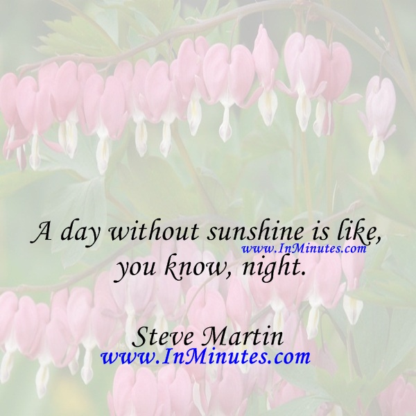 A day without sunshine is like, you know, night.Steve Martin