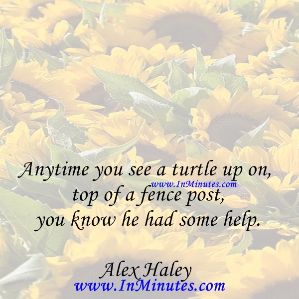 Anytime you see a turtle up on top of a fence post, you know he had some help.Alex Haley