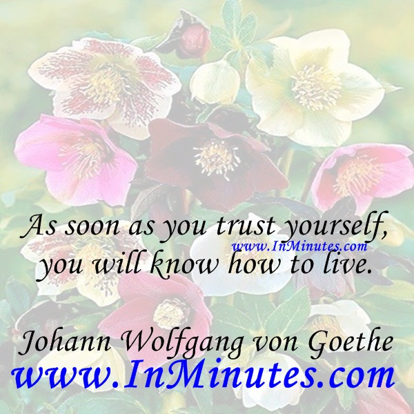 As soon as you trust yourself, you will know how to live.Johann Wolfgang von Goethe