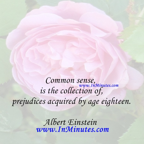 Common sense is the collection of prejudices acquired by age eighteen.Albert Einstein