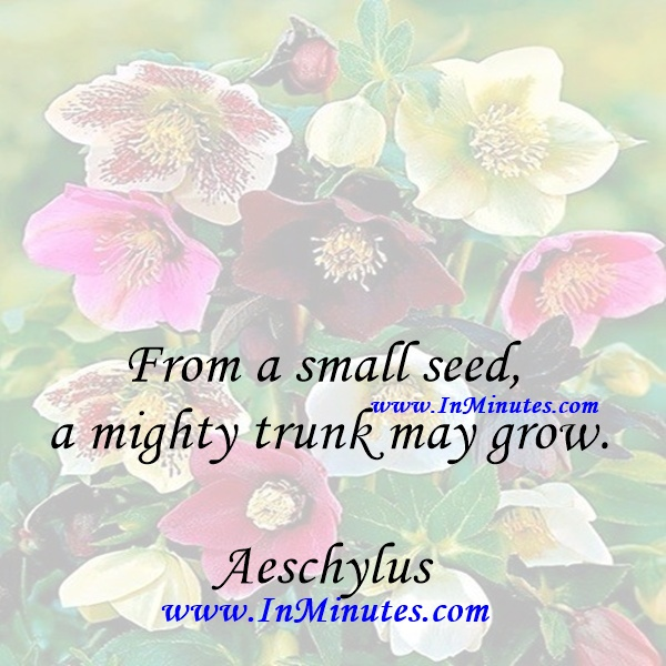 From a small seed a mighty trunk may grow.Aeschylus