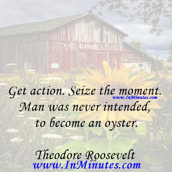 Get action. Seize the moment. Man was never intended to become an oyster.Theodore Roosevelt
