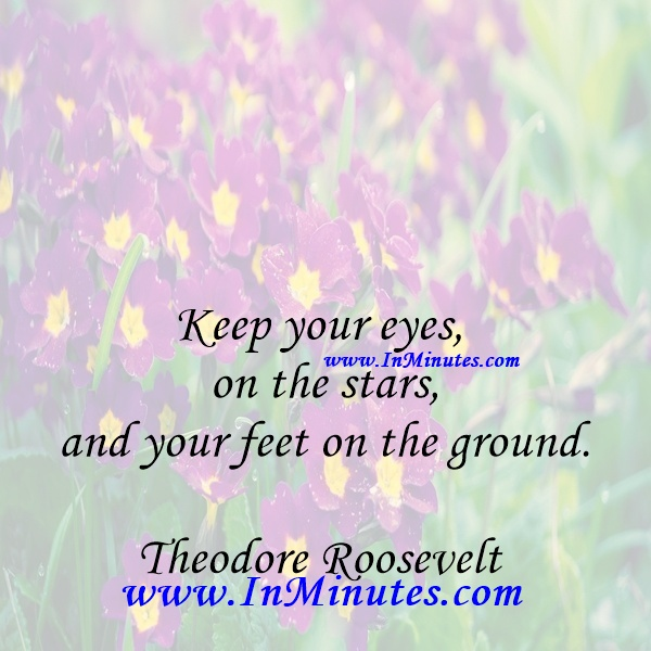 Keep your eyes on the stars, and your feet on the ground.Theodore Roosevelt