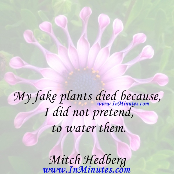 My fake plants died because I did not pretend to water them.Mitch Hedberg