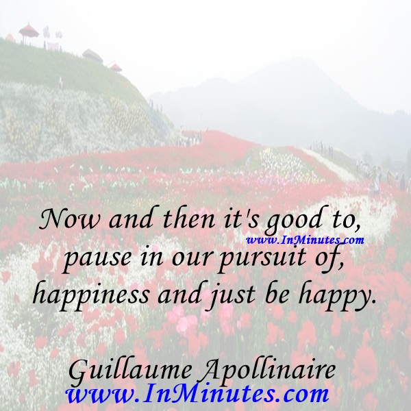 Now and then it's good to pause in our pursuit of happiness and just be happy.Guillaume Apollinaire