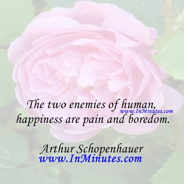 The two enemies of human happiness are pain and boredom.Arthur Schopenhauer