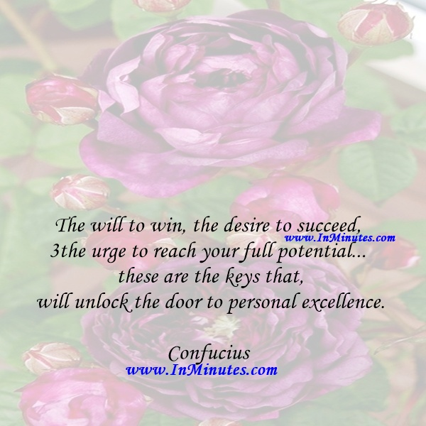 The will to win, the desire to succeed, the urge to reach your full potential... these are the keys that will unlock the door to personal excellence.Confucius