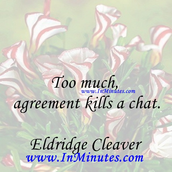 Too much agreement kills a chat.Eldridge Cleaver
