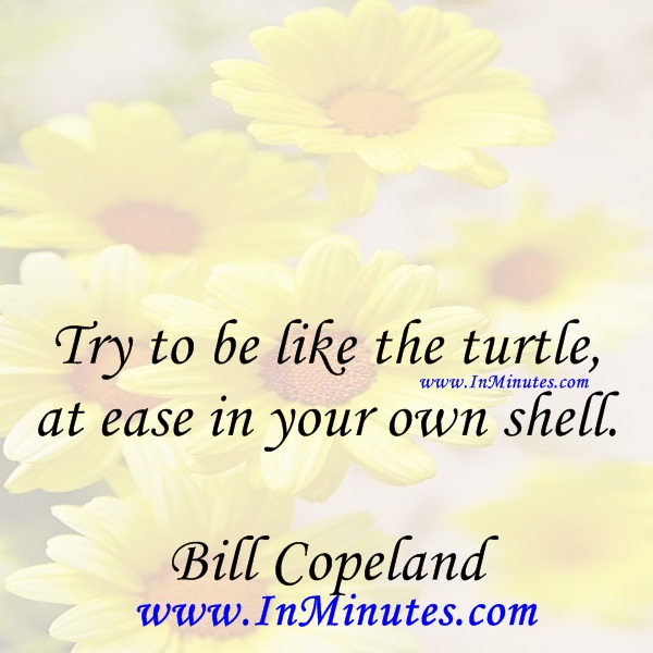 Try to be like the turtle - at ease in your own shell.Bill Copeland