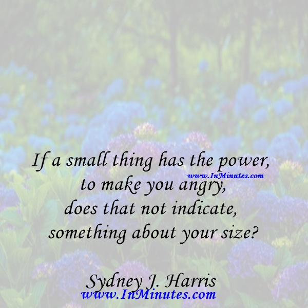 If a small thing has the power to make you angry, does that not indicate something about your sizeSydney J. Harris