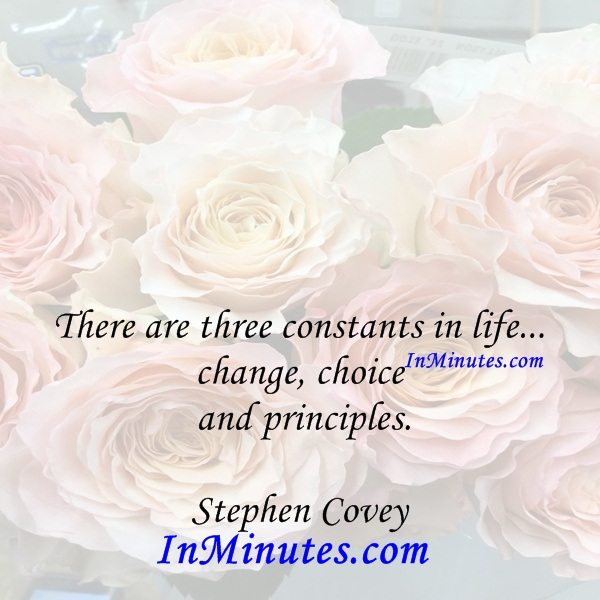 There are three constants in life... change, choice and principles. Stephen Covey