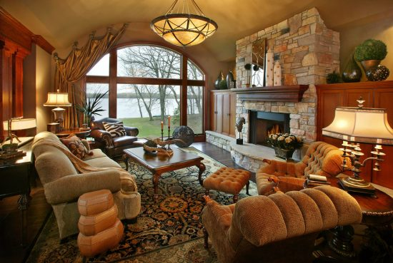 Enjoy the beauty and coziness of 2016 traditional living room design for a chalet